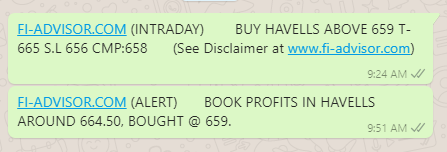 Havells India share price target achived @ 659 - 13th November 2018